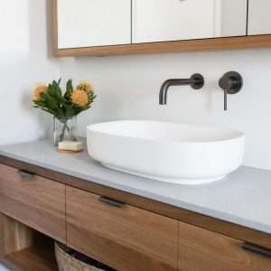 White Oval Stone Solid Surface Basin 540 x 360