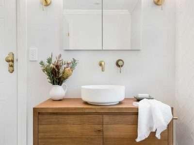 Timber vanity in bathroom