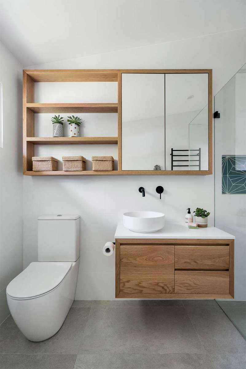 open timber shelves