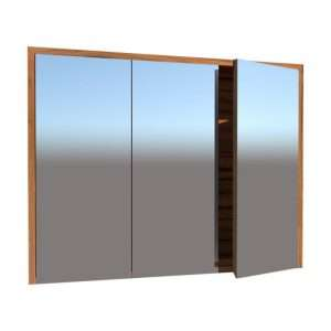 Mirror cabinet with bottom finger pull doors